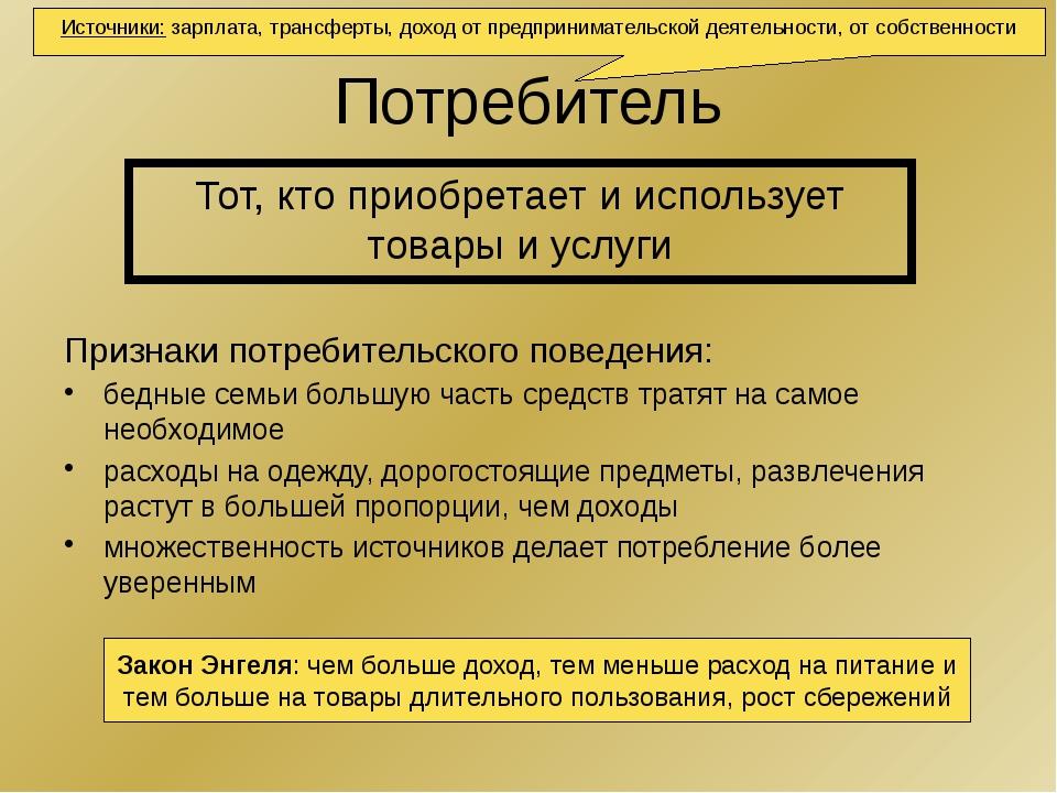 Потребитель Признаки потребительского поведения: бедные семьи большую часть с...