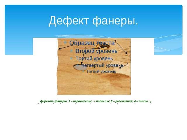 Дефект фанеры. Дефекты фанеры: 1 – неровности; – полость; 3 – расслоение; 4 –...