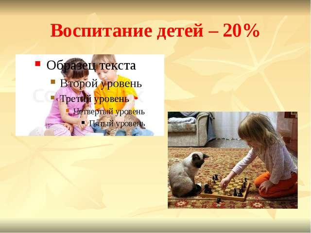 Воспитание детей – 20%