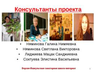 Консультанты проекта Няминова Галина Нимяевна Няминова Светлана Викторовна Ли