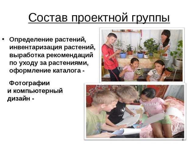 Состав проектной группы Определение растений, инвентаризация растений, вырабо...