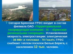 Сегодня Брянская ГРЭС входит в состав филиала ОАО «Территориальная генерирующ