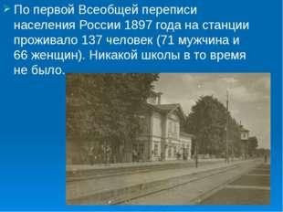 По первой Всеобщей переписи населения России 1897 года на станции проживало 1