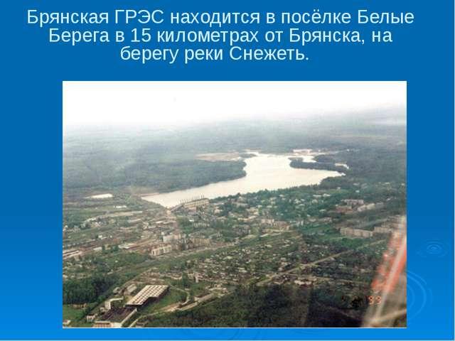 Брянская ГРЭС находится в посёлке Белые Берега в 15 километрах от Брянска, на...
