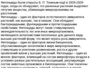 Фитонциды были открыты Б. П. Токиным ещё в 1928-1929 годах, когда он обнаружи