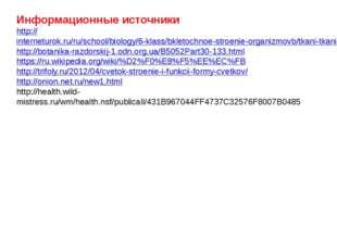 Информационные источники http://interneturok.ru/ru/school/biology/6-klass/bkl