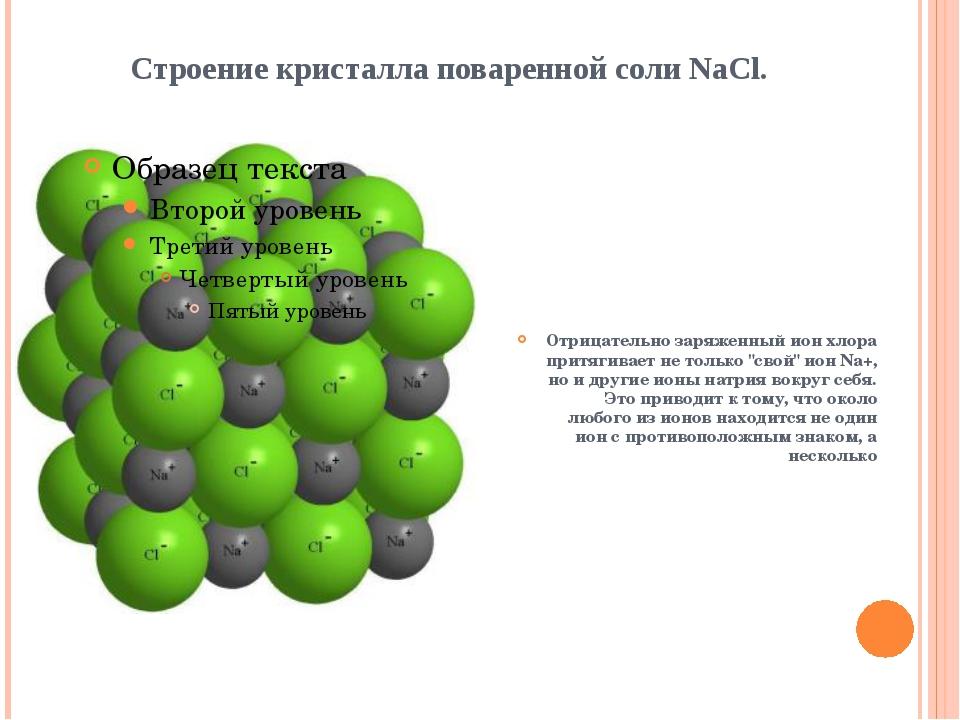 Строение кристалла поваренной соли NaCl. Отрицательно заряженный ион хлора п...