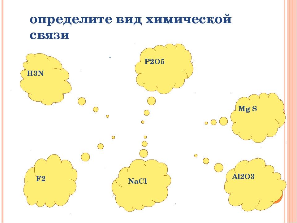 определите вид химической связи . H3N P2O5 Mg S Al2O3 F2 NaCl