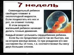 Семинедельный ребенок свободно плавает в околоплодной жидкости. Если пощекот