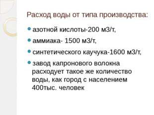 Расход воды от типа производства: азотной кислоты-200 м3/т, аммиака- 1500 м3/