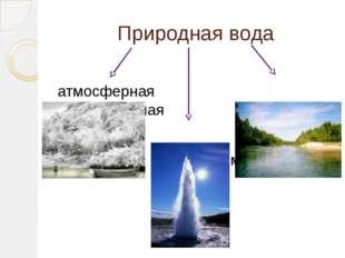 Природная вода атмосферная поверхностная подземная