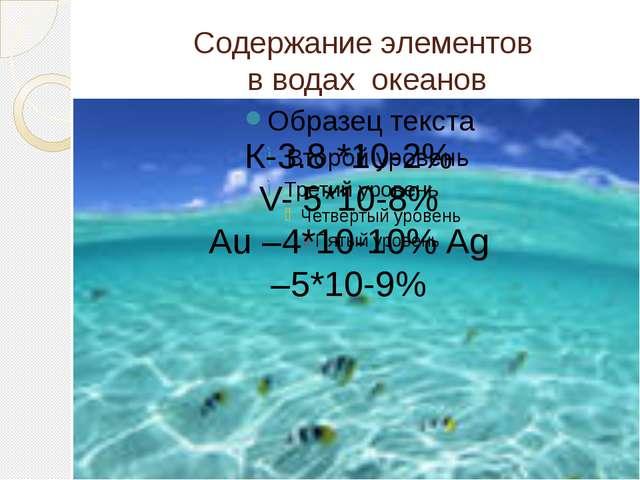 Содержание элементов в водах океанов К-3.8 *10-2% V- 5*10-8% Au –4*10-10% Ag...