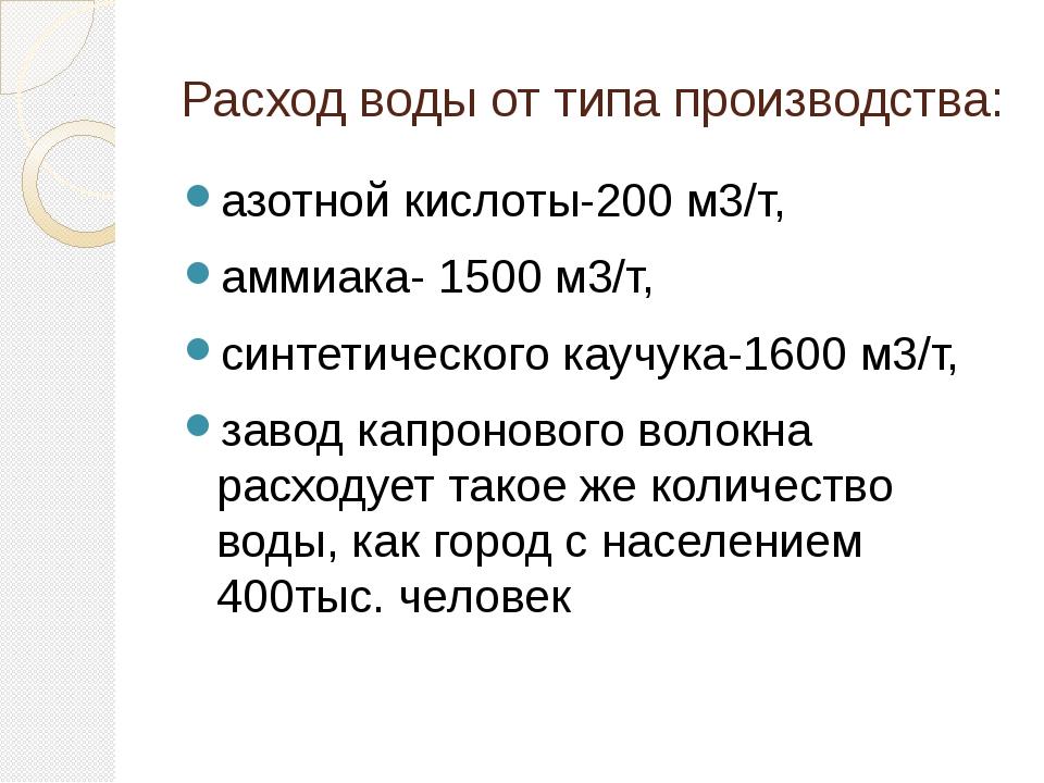 Расход воды от типа производства: азотной кислоты-200 м3/т, аммиака- 1500 м3/...