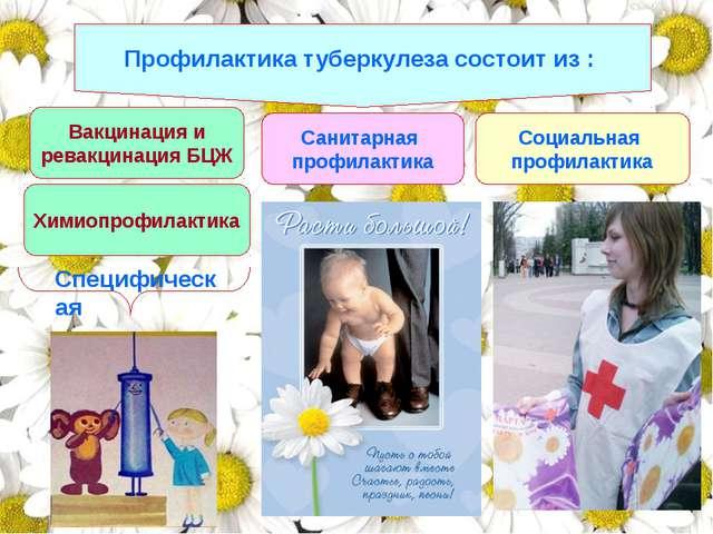 Профилактика туберкулеза состоит из : Вакцинация и ревакцинация БЦЖ Санитарна...