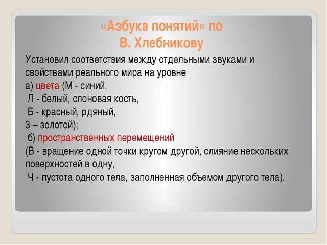«Азбука понятий» по В. Хлебникову Установил соответствия между отдельными зву...
