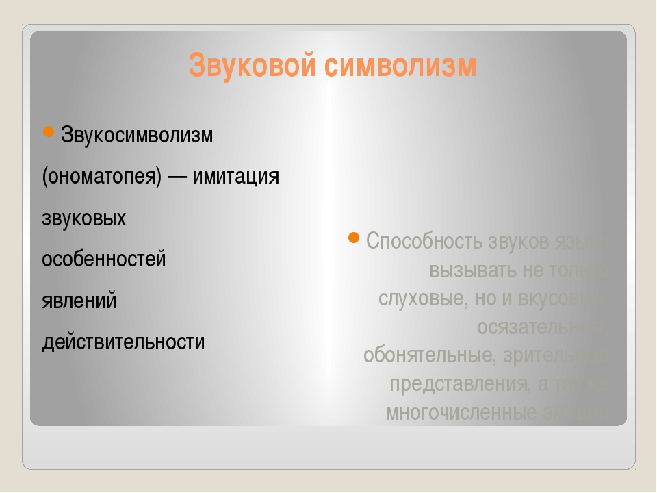 Звуковой символизм Звукосимволизм (ономатопея) — имитация звуковых особенност...