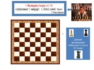 Ұйымдастыру сәті: «Шахмат өмірдің үлгісі сияқты» Г.Каспаров Шахмат фигуралар