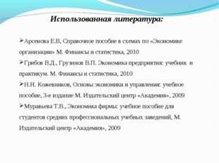 Использованная литература: Арсенова Е.В, Справочное пособие в схемах по «Экон