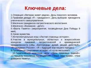 Ключевые дела: 1.Операция «Ветеран живет рядом», День пожилого человека. 2.П