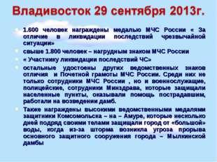1.600 человек награждены медалью МЧС России « За отличие в ликвидации последс