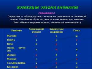 КОРРЕКЦИЯ ОБЪЕМА ВНИМАНИЯ Упражнение 2. Определите по таблице, где смесь, хим
