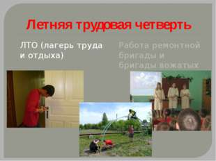 Летняя трудовая четверть ЛТО (лагерь труда и отдыха) Работа ремонтной бригады