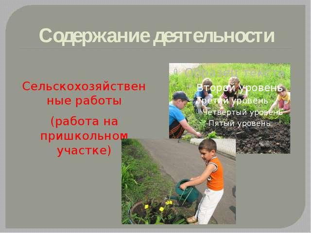 Содержание деятельности Сельскохозяйственные работы (работа на пришкольном уч...