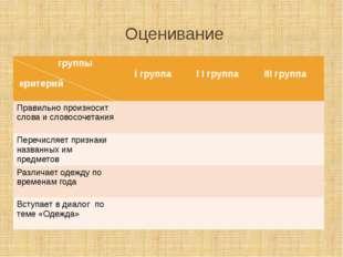 Оценивание группы критерий Iгруппа I Iгруппа IIIгруппа Правильно произносит с