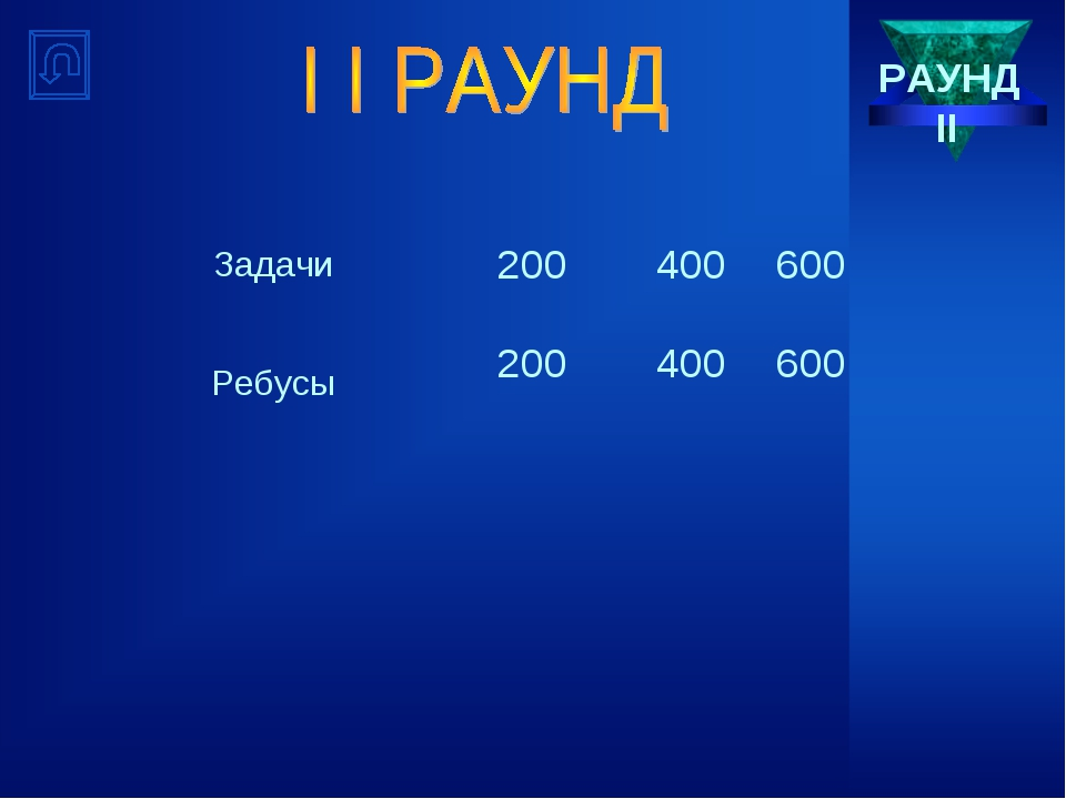 РАУНД II Задачи200400600 Ребусы200400600