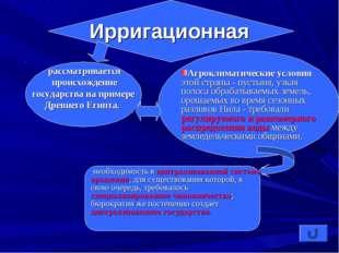 Ирригационная рассматривается происхождение государства на примере Древнего Е