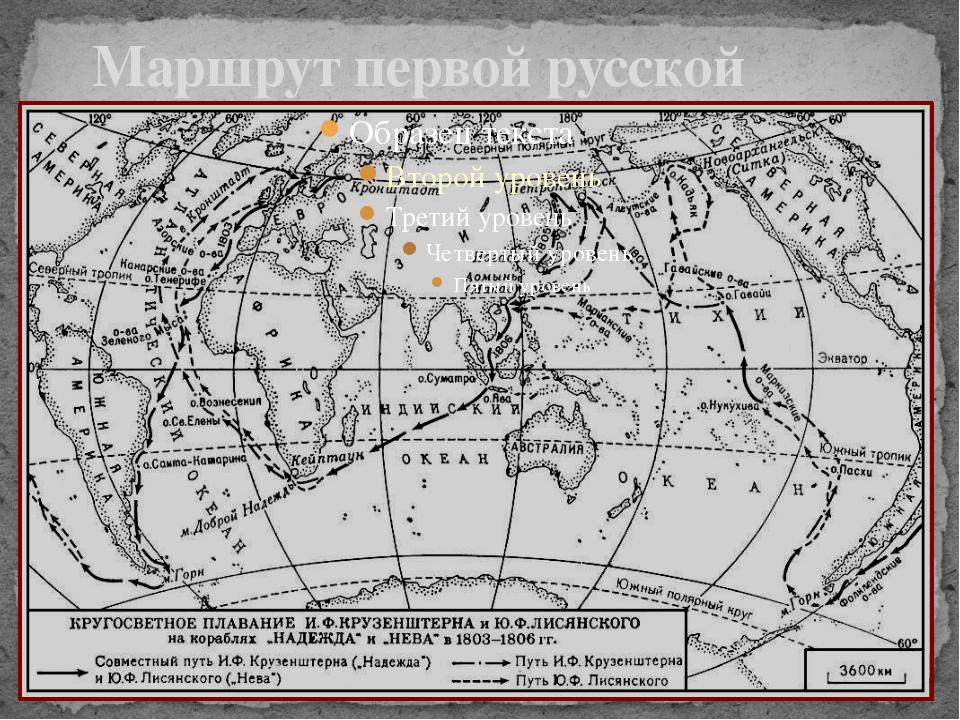 Маршрут первой русской кругосветной экспедиции