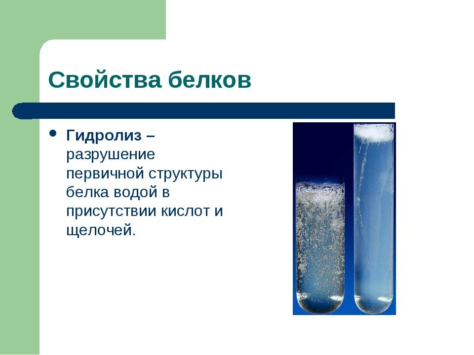 Свойства белков Гидролиз – разрушение первичной структуры белка водой в прису...