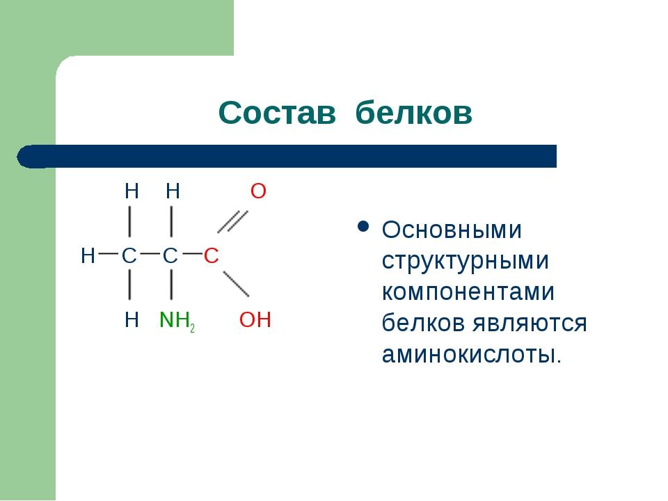 Состав белков H H O H C C C H NH2 OH Основными структурными компонентами белк...