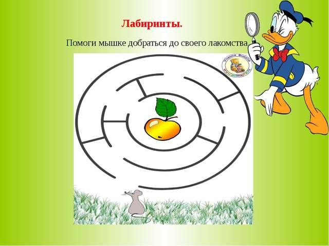 Лабиринты. Помоги мышке добраться до своего лакомства.