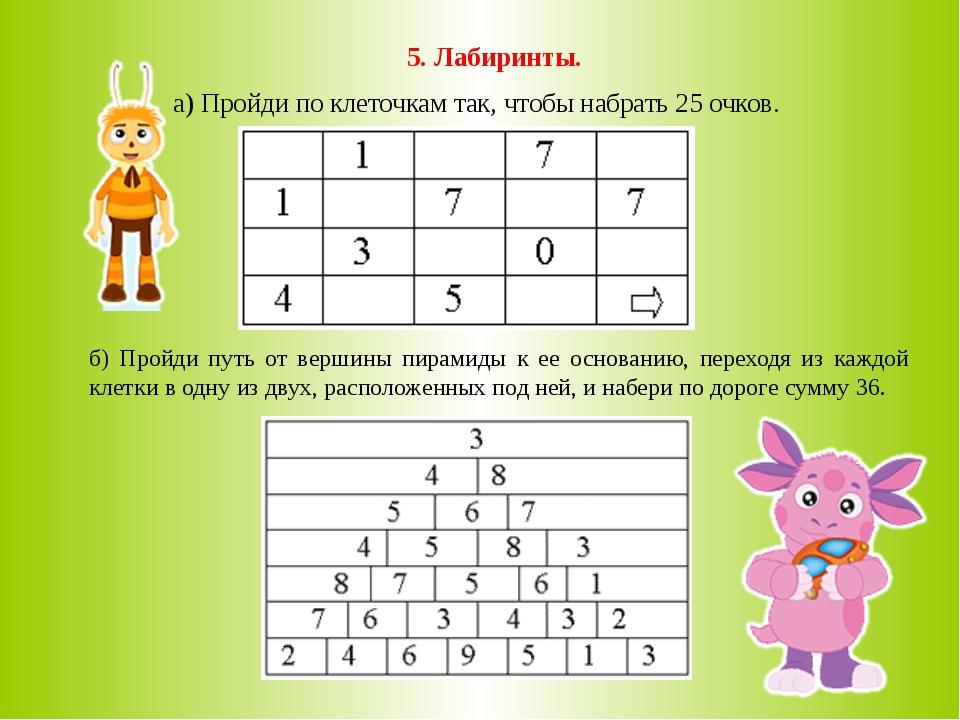 5. Лабиринты. а) Пройди по клеточкам так, чтобы набрать 25 очков. б) Пройди п...