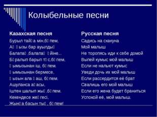 Колыбельные песни Казахская песня Бурыл тайға мін,бөпем, Ақ қызы бар ауылдың