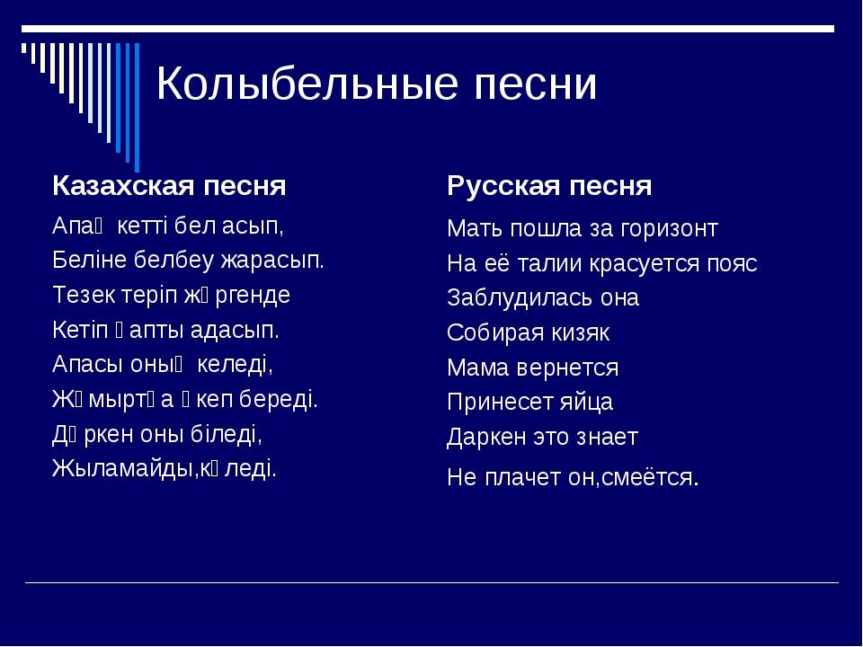 Колыбельные песни Казахская песня Апаң кетті бел асып, Беліне белбеу жарасып...
