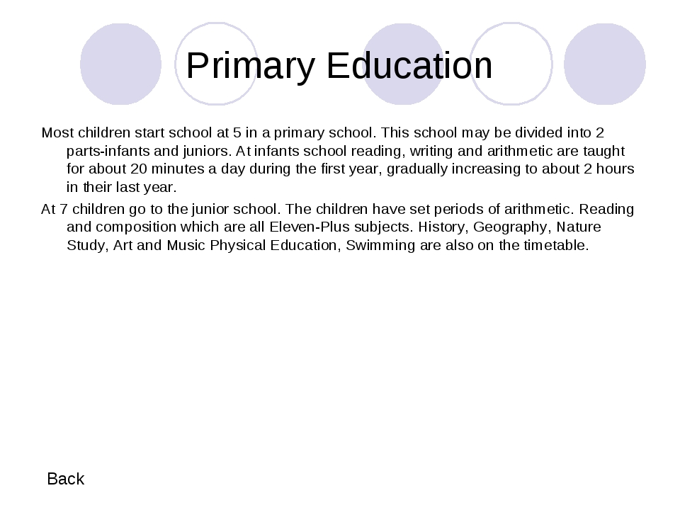 Primary Education Most children start school at 5 in a primary school. This s...