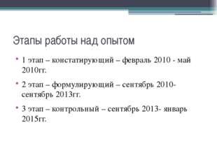 Этапы работы над опытом 1 этап – констатирующий – февраль 2010 - май 2010гг.