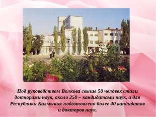Под руководством Волкова свыше 50 человек стали докторами наук, около 250 – к