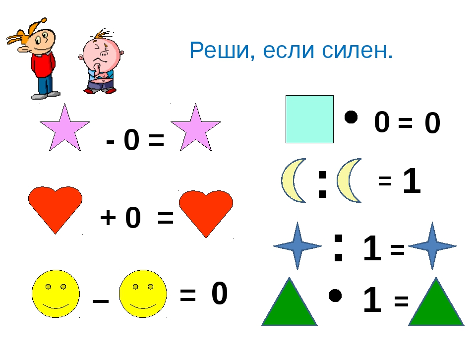 - 0 = Реши, если силен. + 0 = – = 0 0 = 0 : = 1 : 1 = 1 =