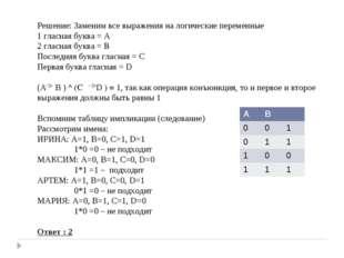 Решение: Заменим все выражения на логические переменные 1 гласная буква = А 2