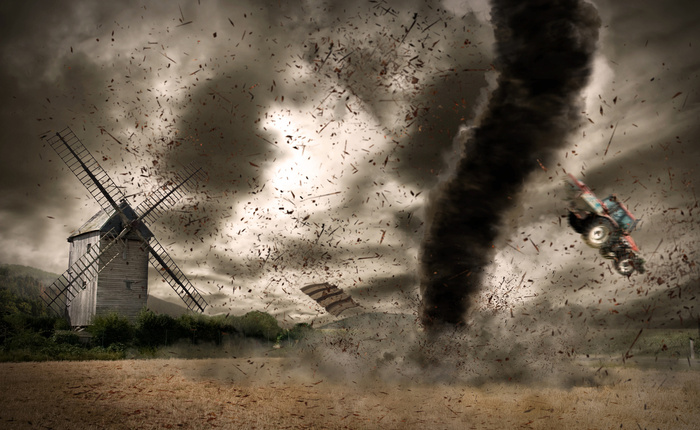 Tornado with lightning over a meteo station из sdecoret, Роялти-фри стоковое фото #64111315 на Fotolia.ru