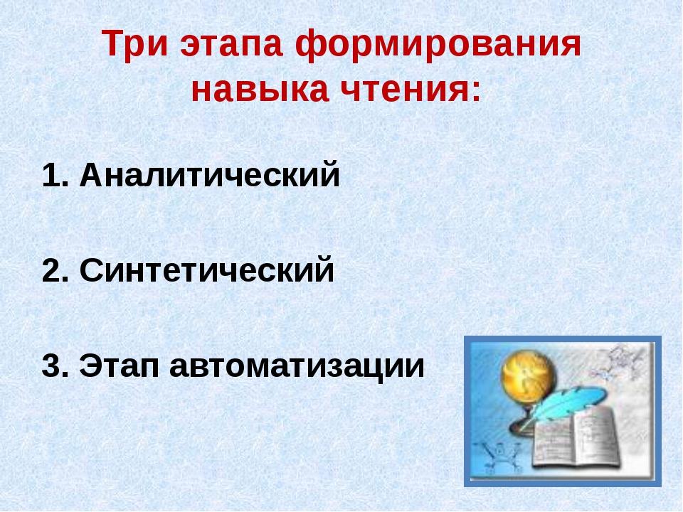 Три этапа формирования навыка чтения: 1. Аналитический 2. Синтетический 3. Эт...