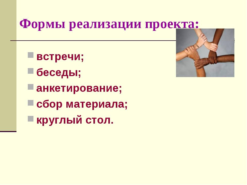 Формы реализации проекта: встречи; беседы; анкетирование; сбор материала; кр...