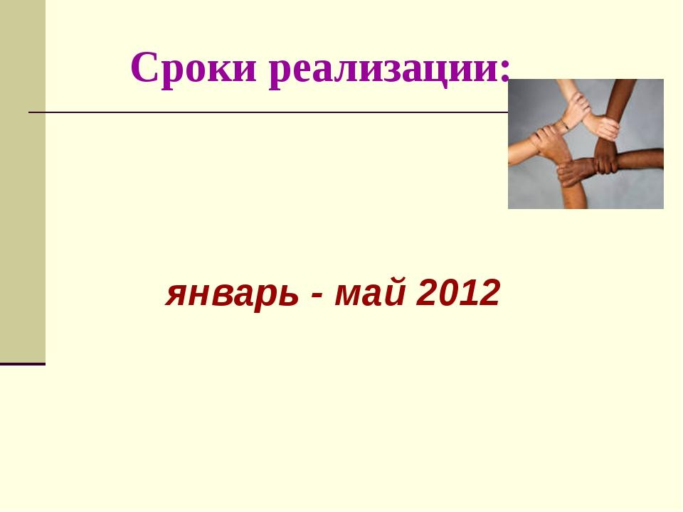 Сроки реализации: январь - май 2012