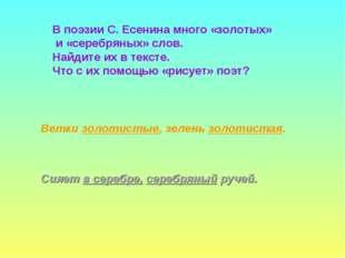 В поэзии С. Есенина много «золотых» и «серебряных» слов. Найдите их в тексте.