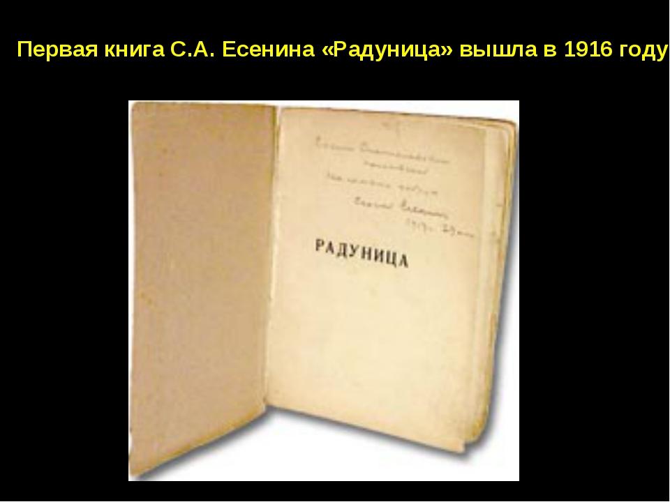 Первая книга С.А. Есенина «Радуница» вышла в 1916 году.
