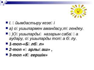 І. Ұйымдастыру кезеңі а) оқушылармен амандасу,түгендеу. ә)Оқушылардың назарын