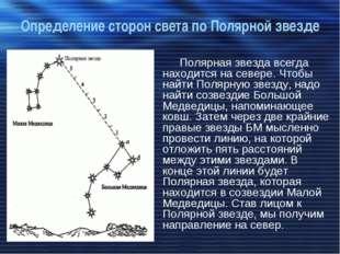 Определение сторон света по Полярной звезде Полярная звезда всегда находится